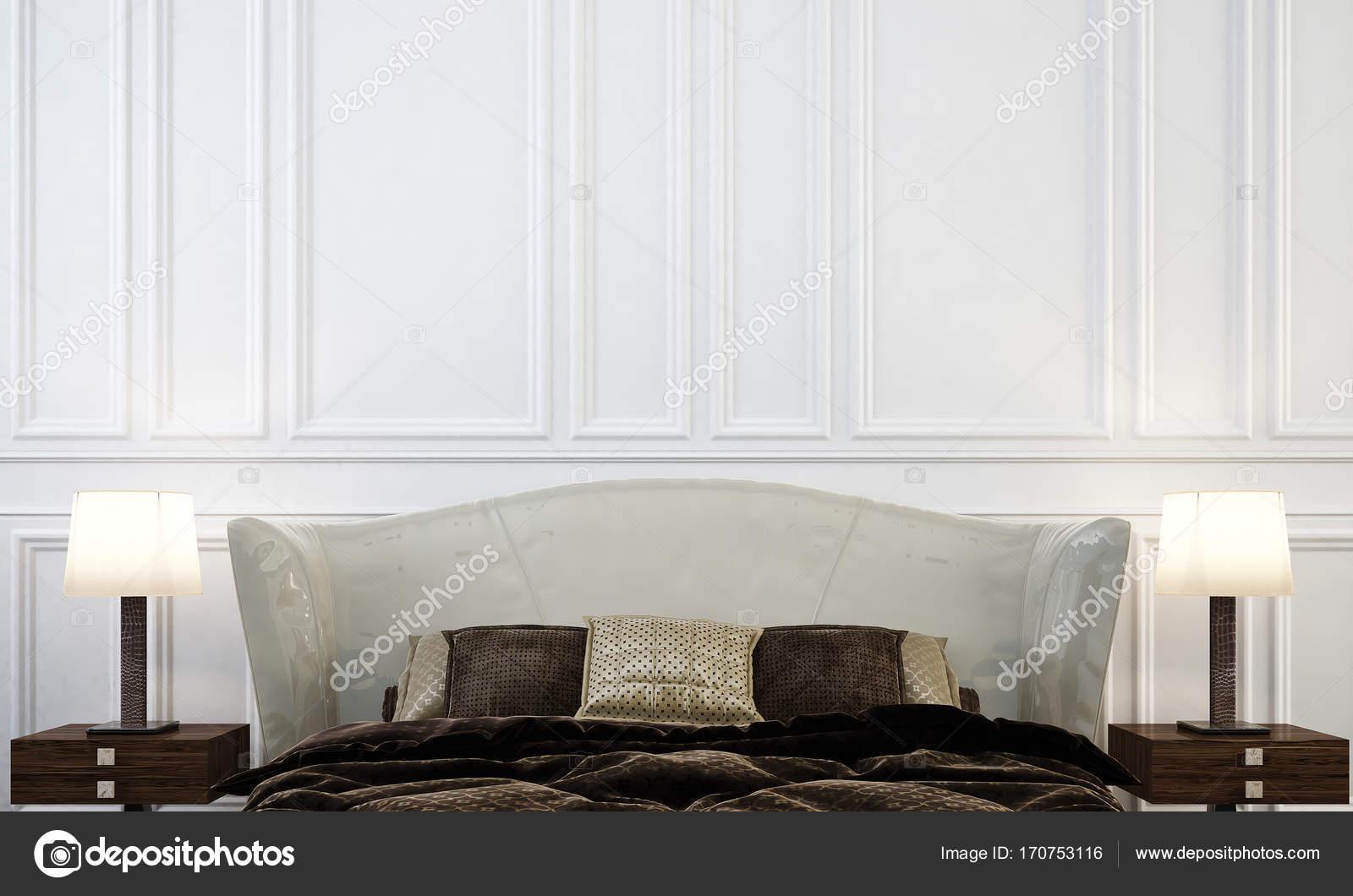 De luxe slaapkamer interieurontwerp en wit muur patroon
