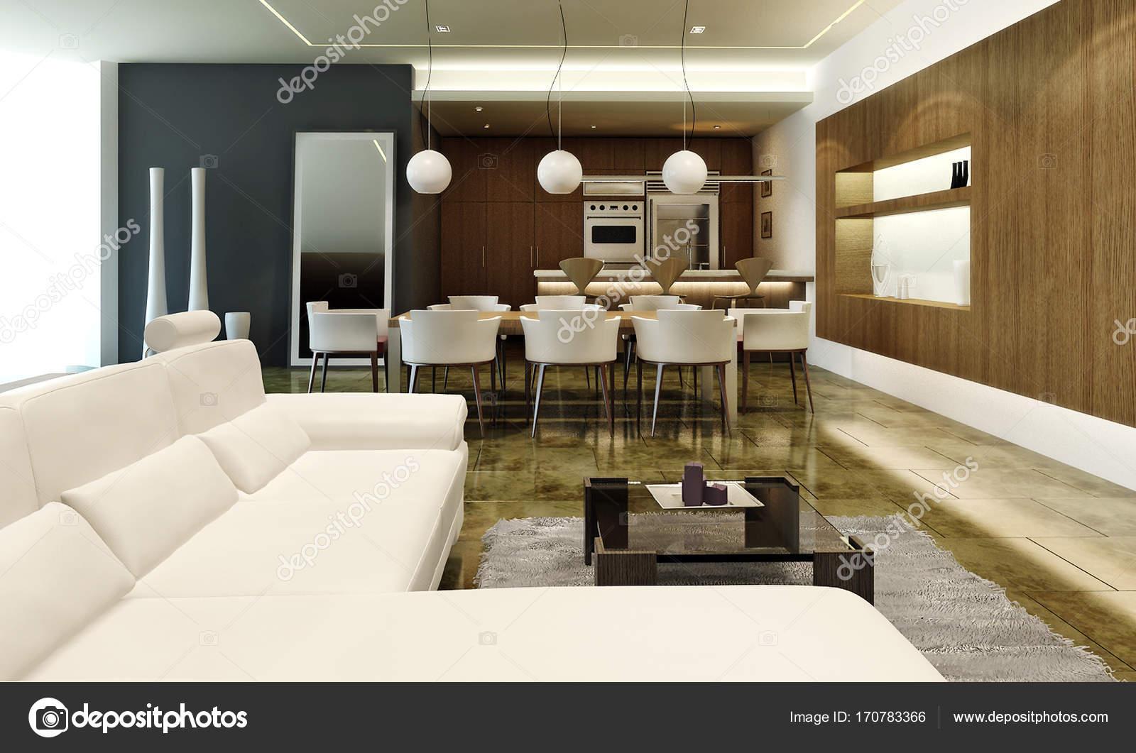 Dise o de interiores de l de la moderna zona lounge y for Diseno de interiores sala de estar comedor