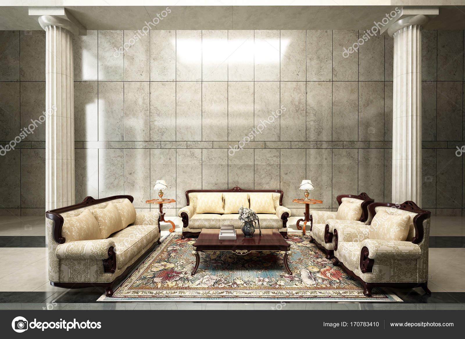 Woonkamer Met Beton : Hij interieur van luxe lounge hal en woonkamer en beton muur