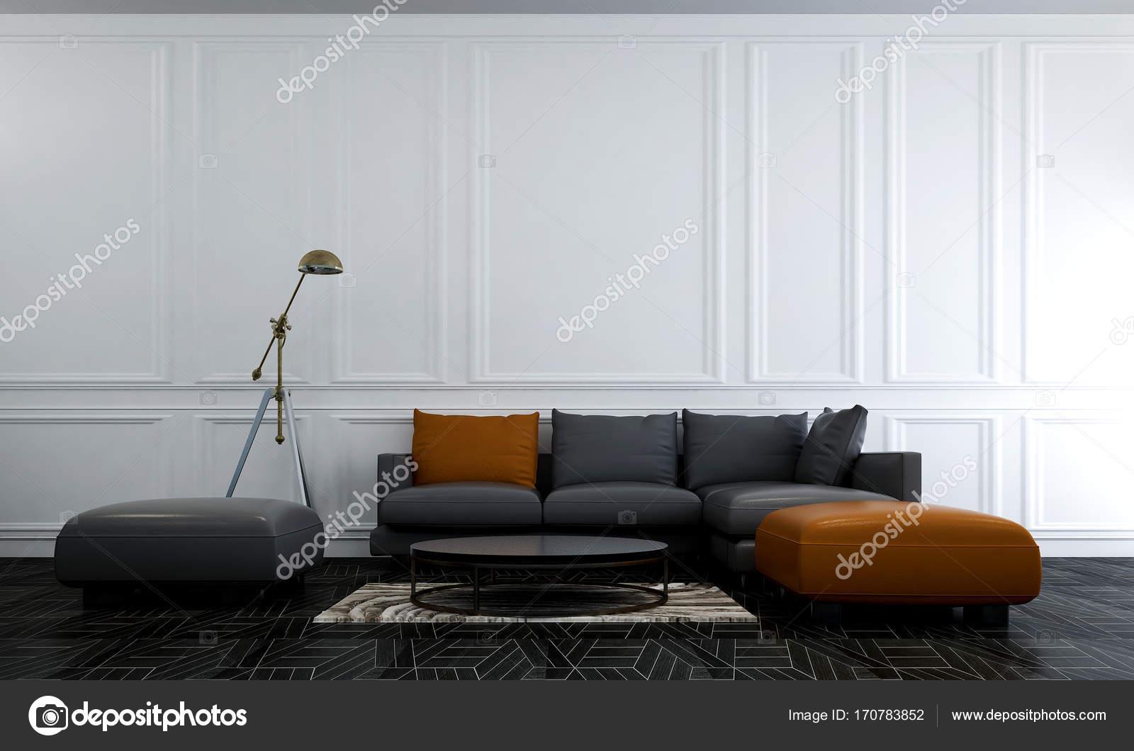 Er Innenarchitektur Wohnzimmer, moderne Lounge-Sofa und Wand ...