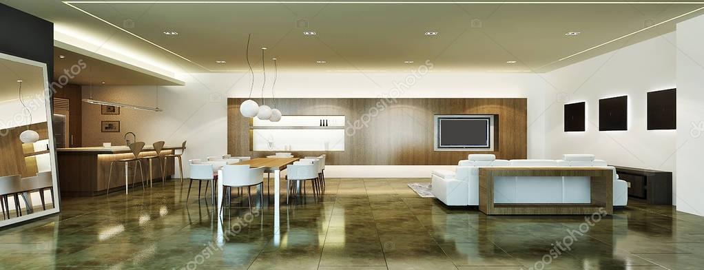 Salon de estar modernos l dise o de interiores de sal n moderno zona sala de estar y comedor - Disenos de salones modernos ...