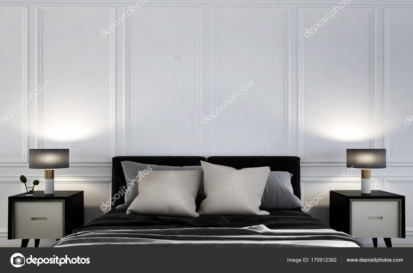 Luxus Schlafzimmer und Beistelltisch und Wand Muster Hintergrund ...