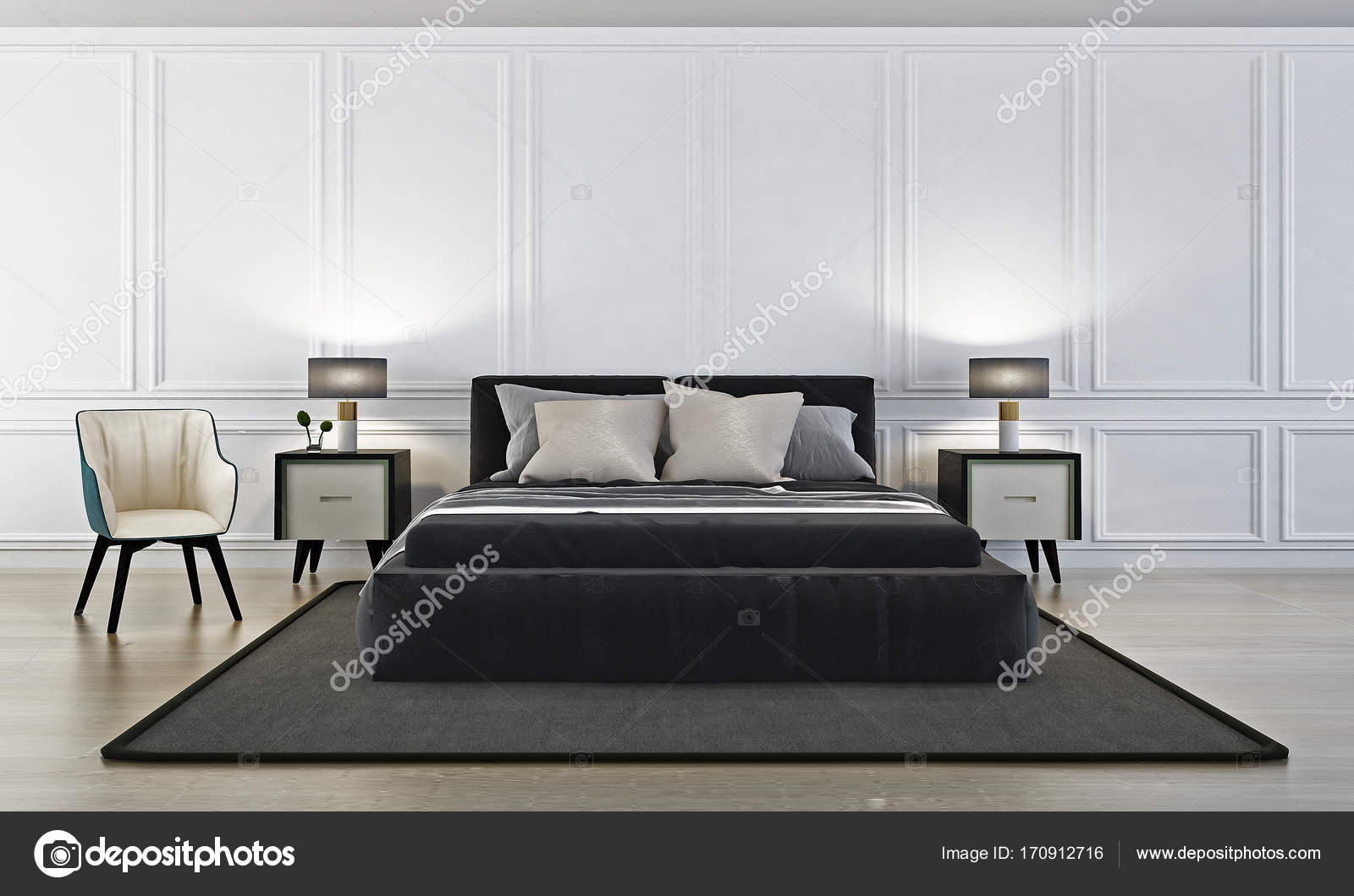 Die moderne Luxus Schlafzimmer und Beistelltisch und Wand Muster ...