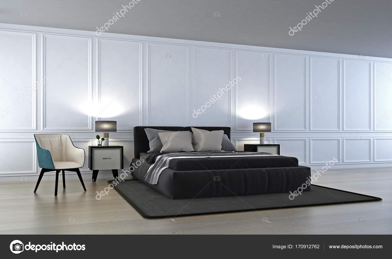 Luxus Schlafzimmer und Beistelltisch und weiße Wand Muster ...