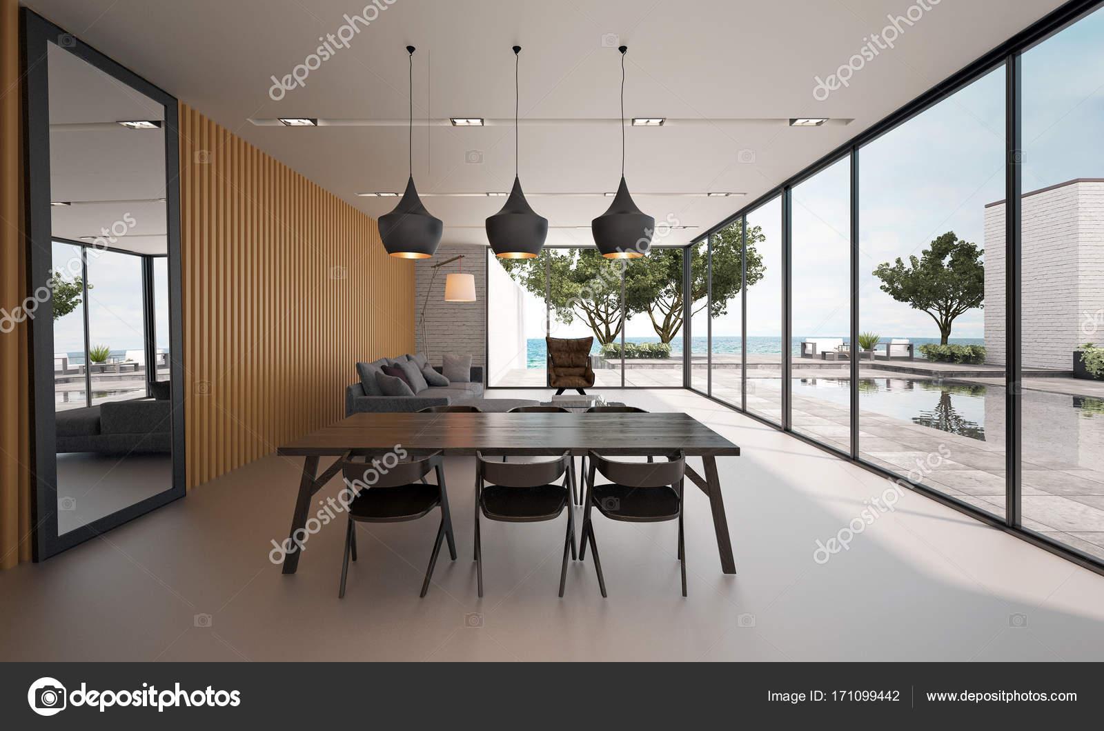 Het interieur van het moderne eetkamer en woonkamer en zee