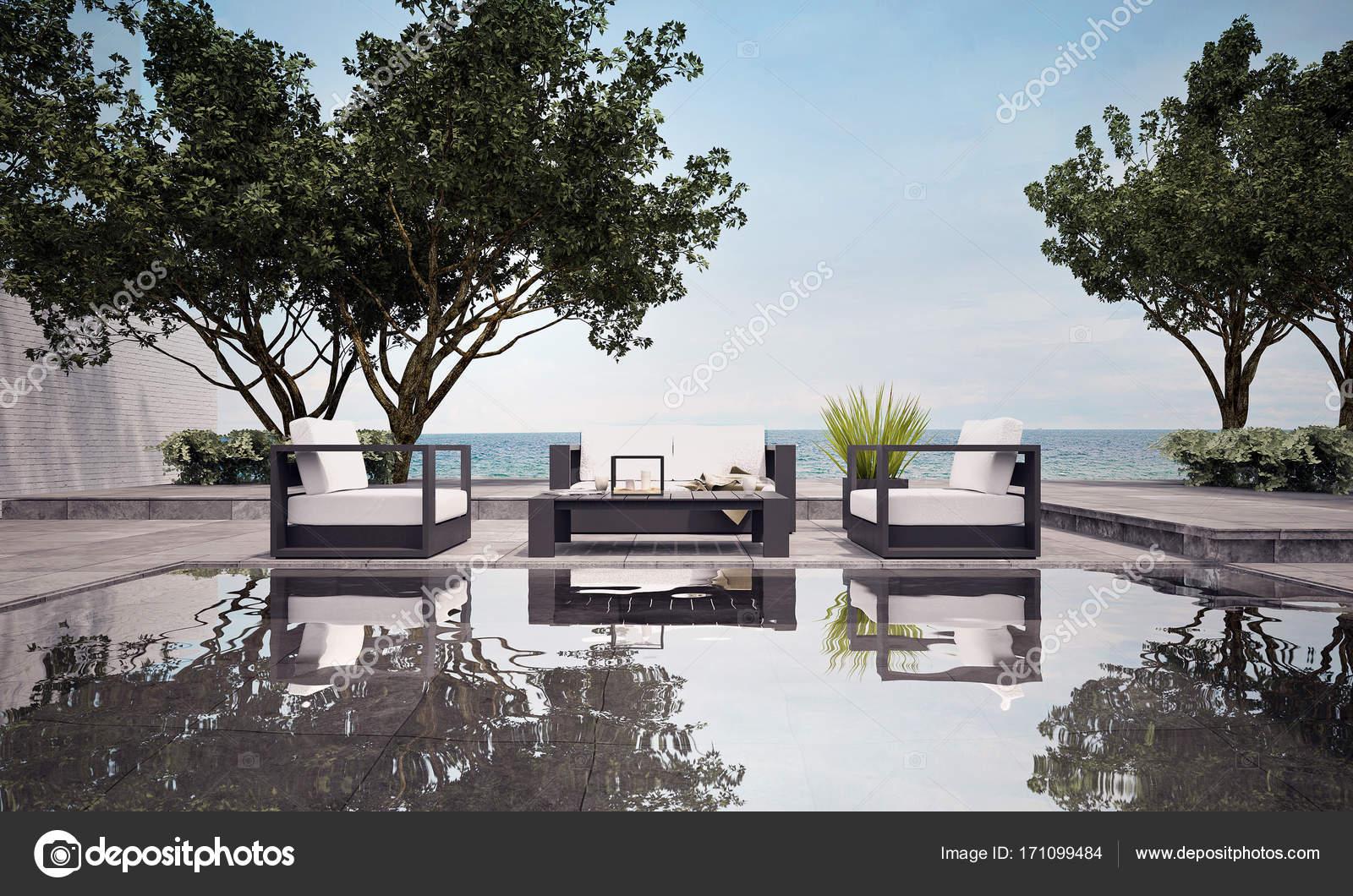 Het interieur design concept idee van buiten beach lounge en zee