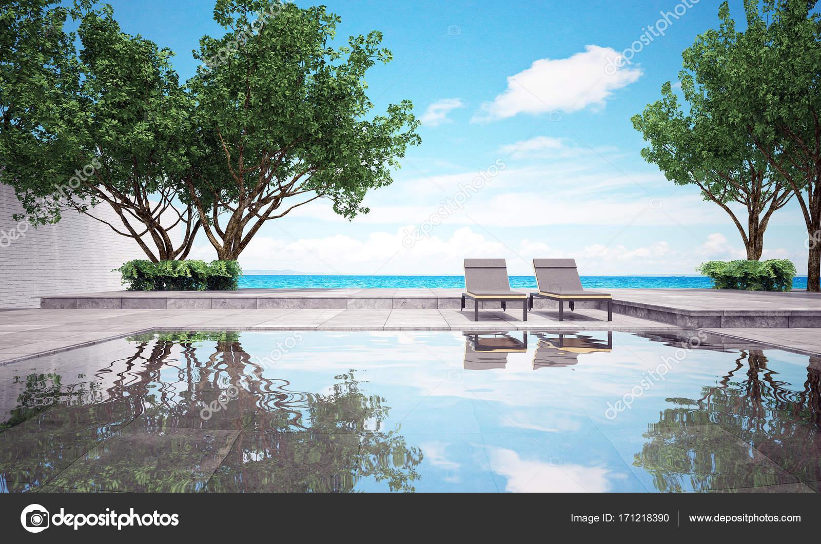 Die Inneneinrichtung der Beach Lounge und Liege und Blick aufs Meer ...