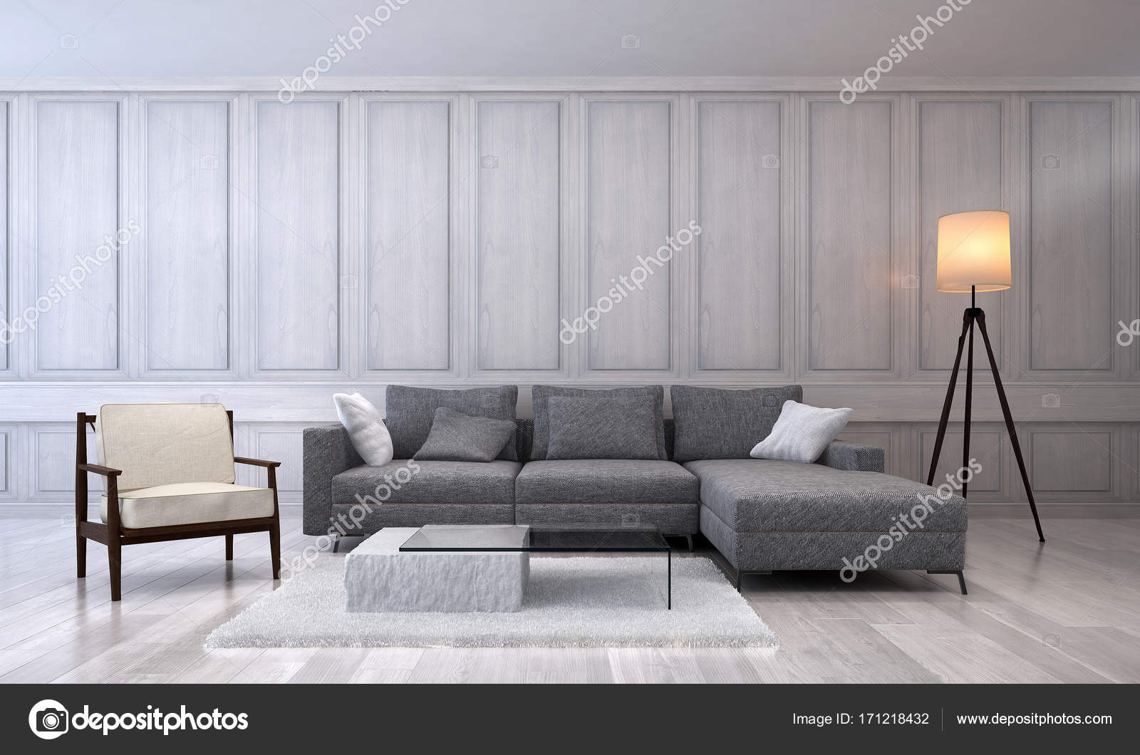 Das Interior Design des modernen Luxus Wohnzimmer und Holz ...