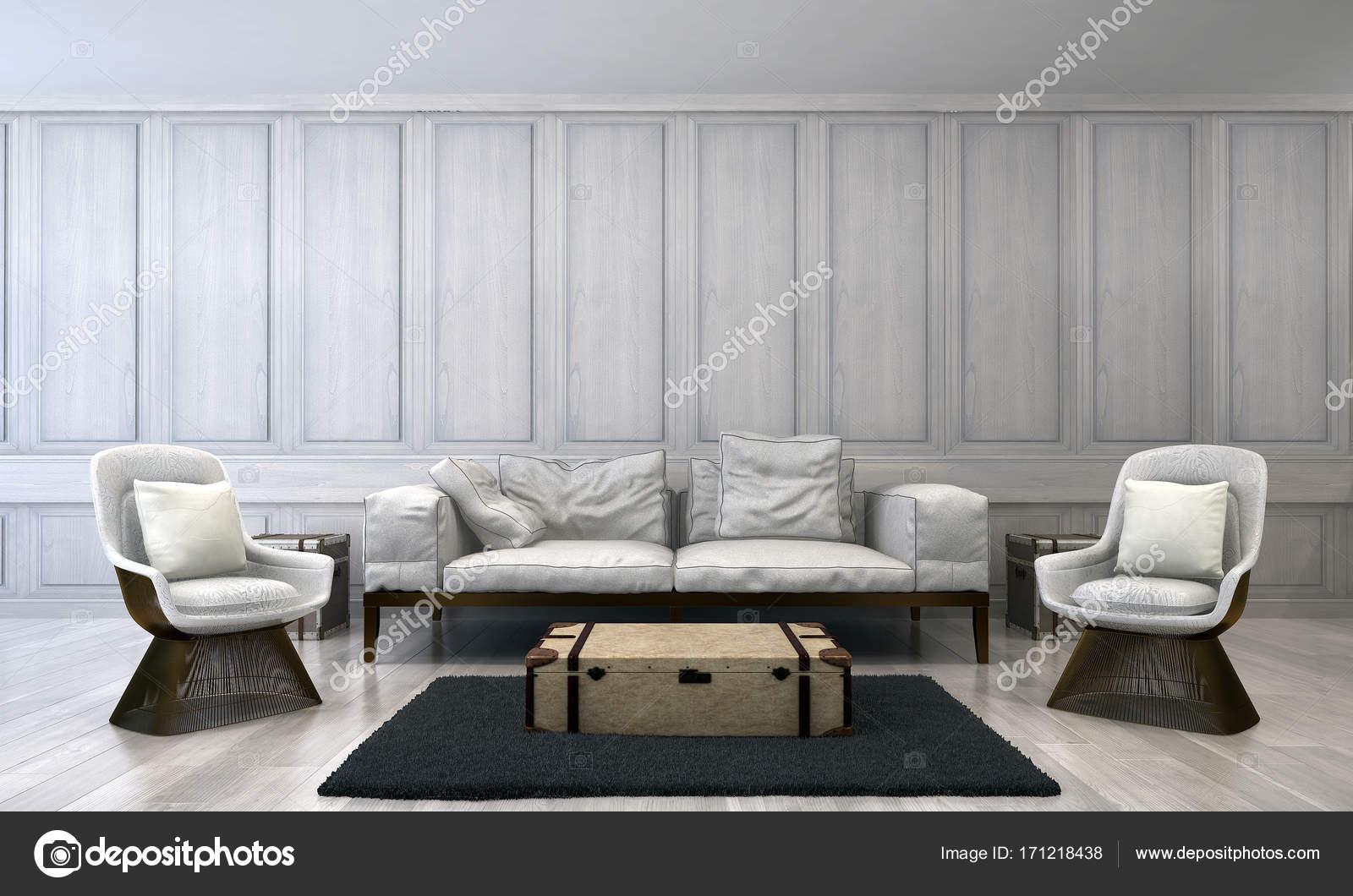 Das Interior Design Des Luxus Wohnzimmer Und Holz Wand Muster