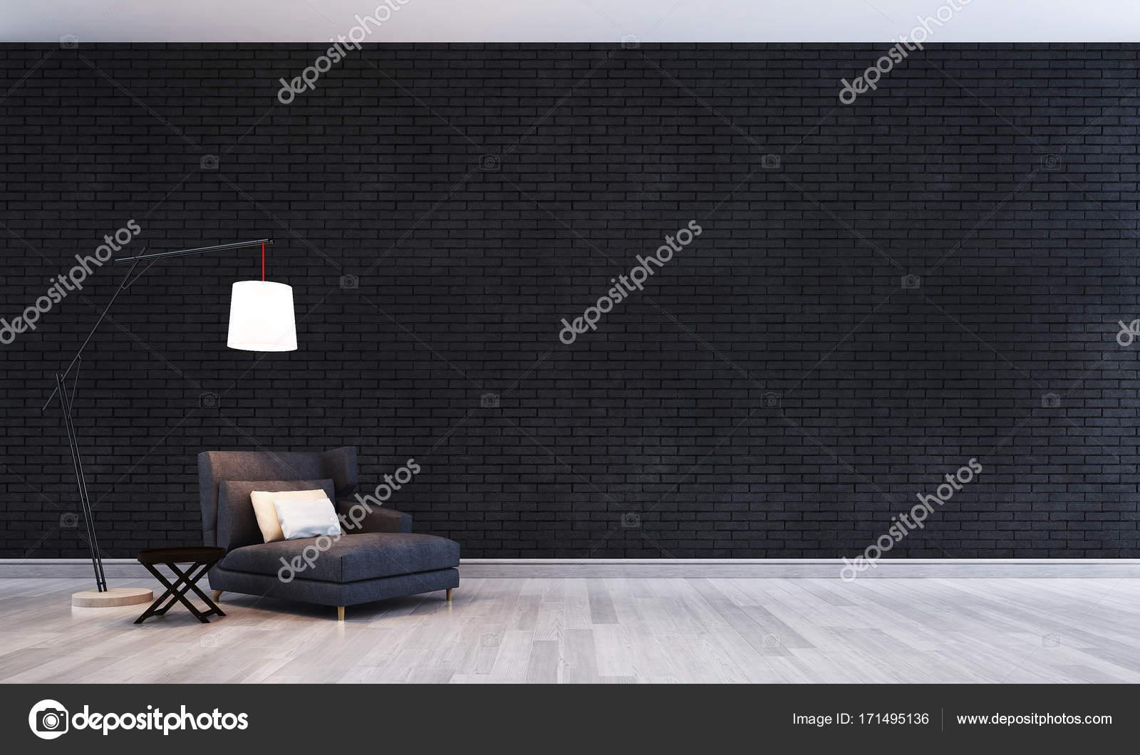 Het interieur design concept idee van woonkamer en zwarte bakstenen
