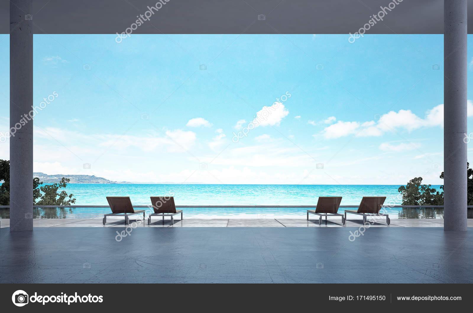 Die Innenarchitektur Konzeptidee des Strand-Lounge-Bereich und Blick ...