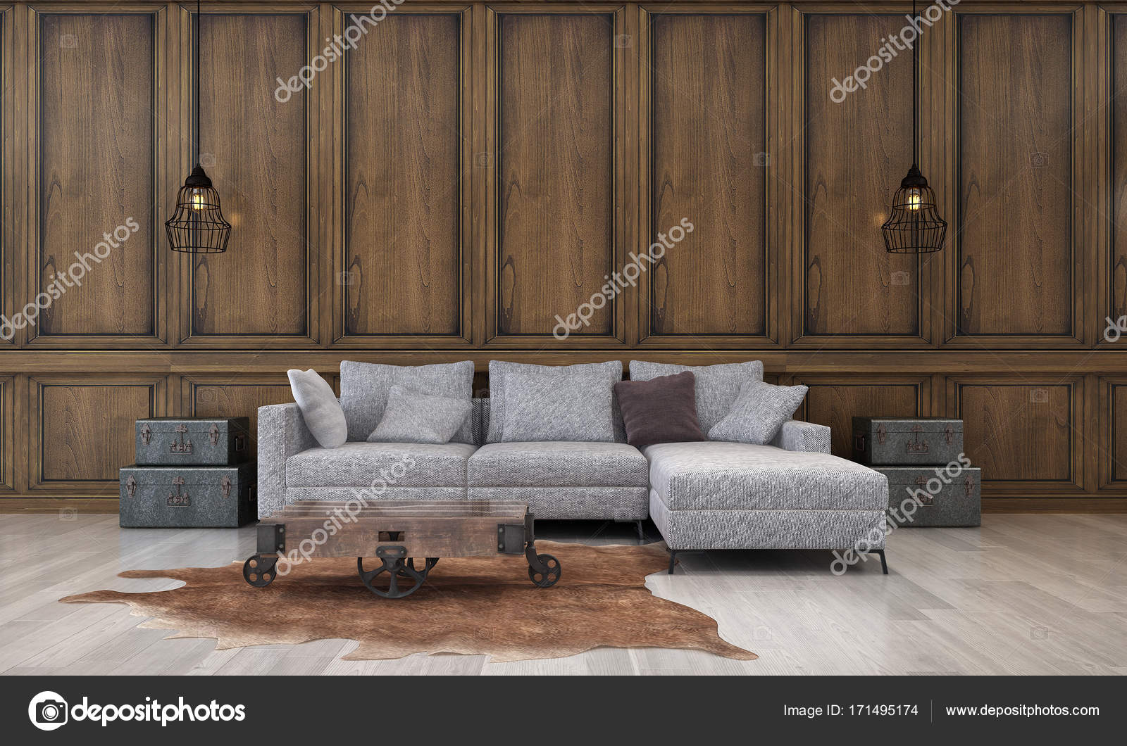 Het interieur design concept idee van luxe woonkamer en hout patroon