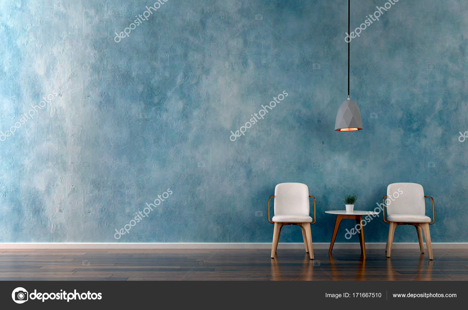 The Interior Design Of Lounge Chairs And Living Room And Blue Texture Wall Background Stock Photo Image By C Teeraphan 171667510