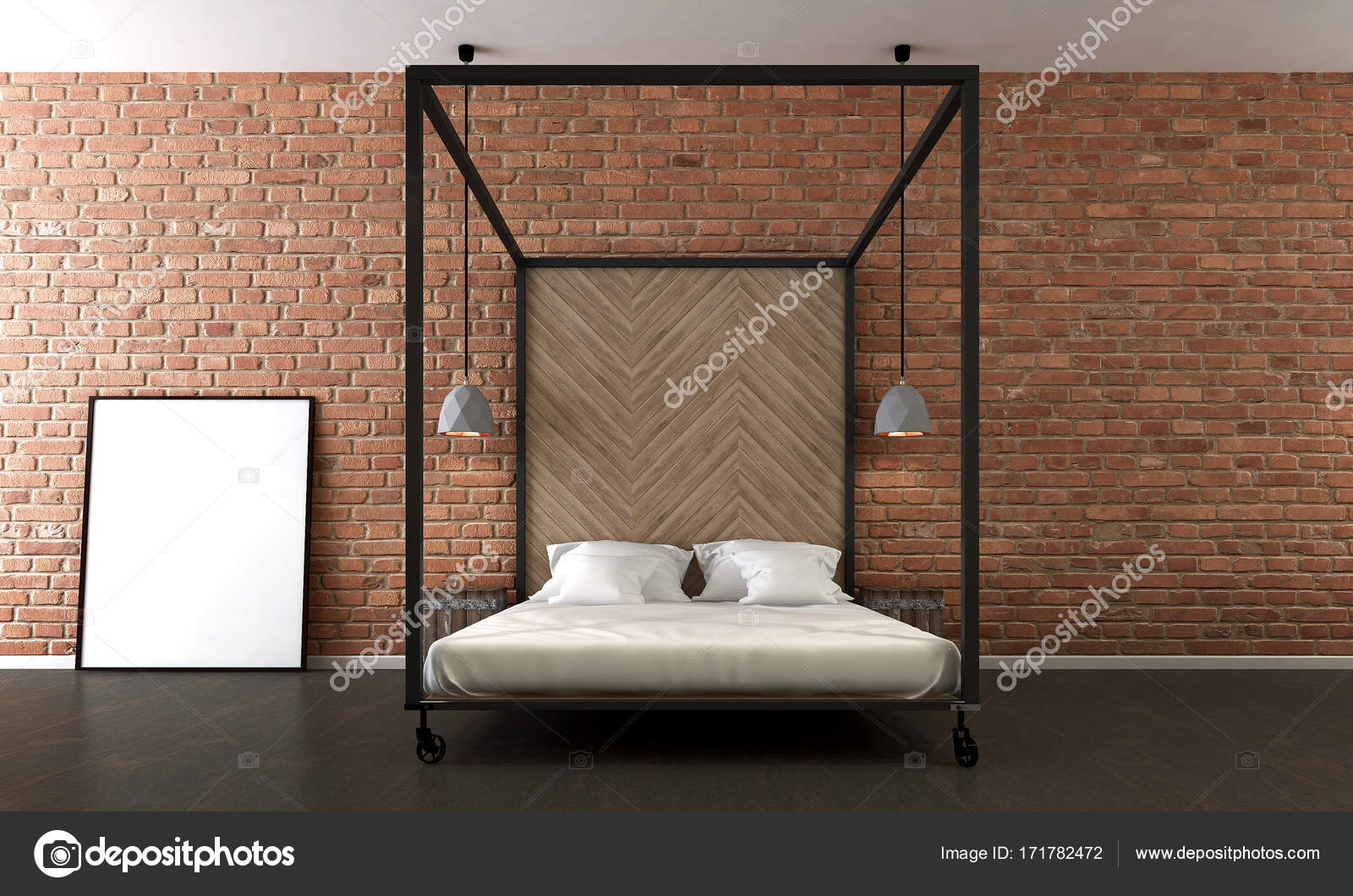 The Interiors Design Of Minimal Bedroom And Red Brick Wall Texture Background Stock Photo C Teeraphan 171782472