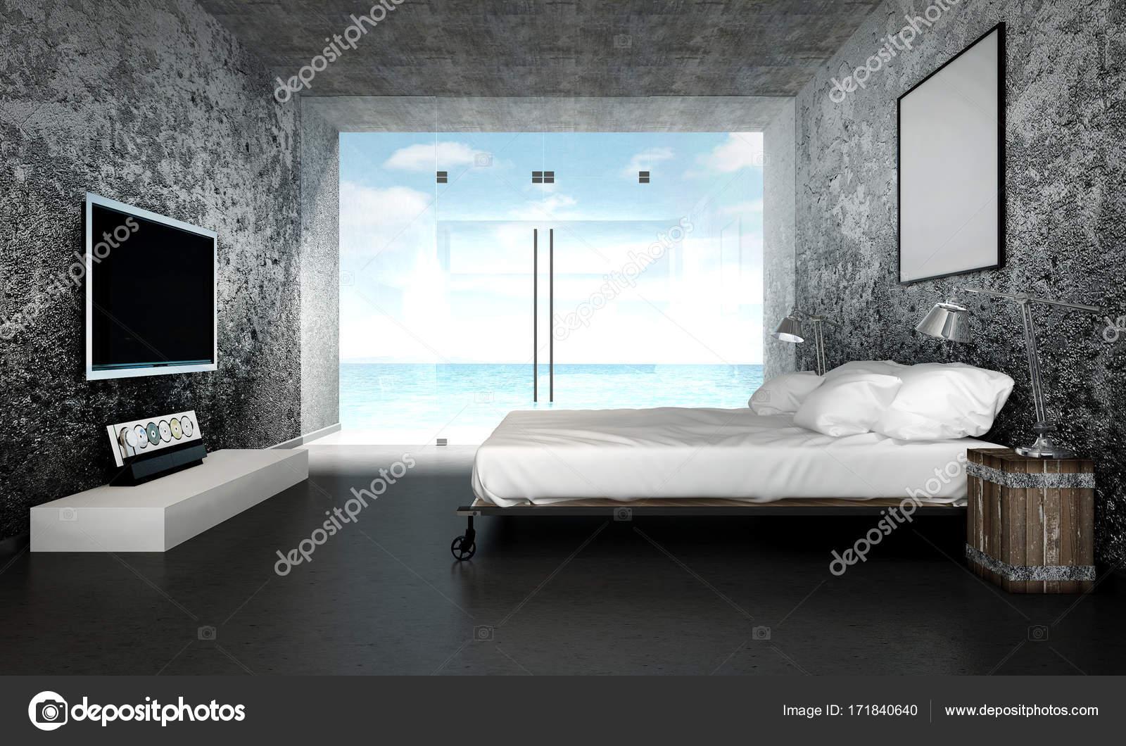 Camera Da Letto Con Soppalco : Il design di interni di soppalco con letto matrimoniale e muro di
