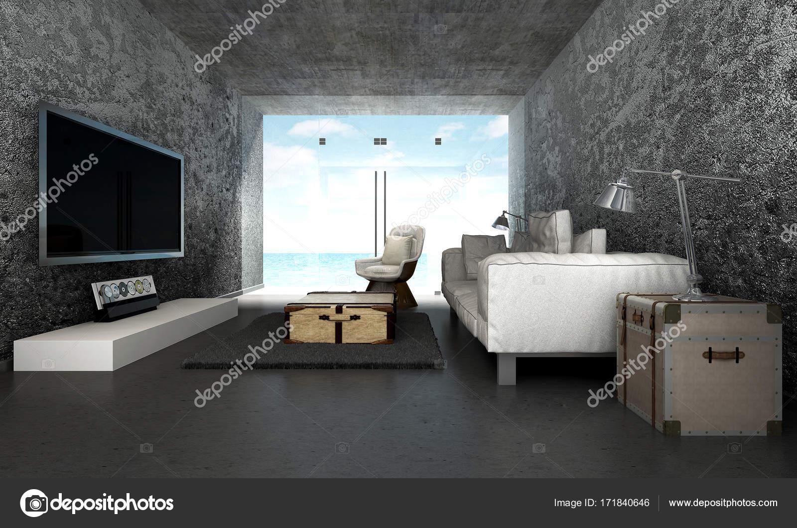 Das Interieur-Design des Loft Wohnzimmer und Blick auf das Meer und ...