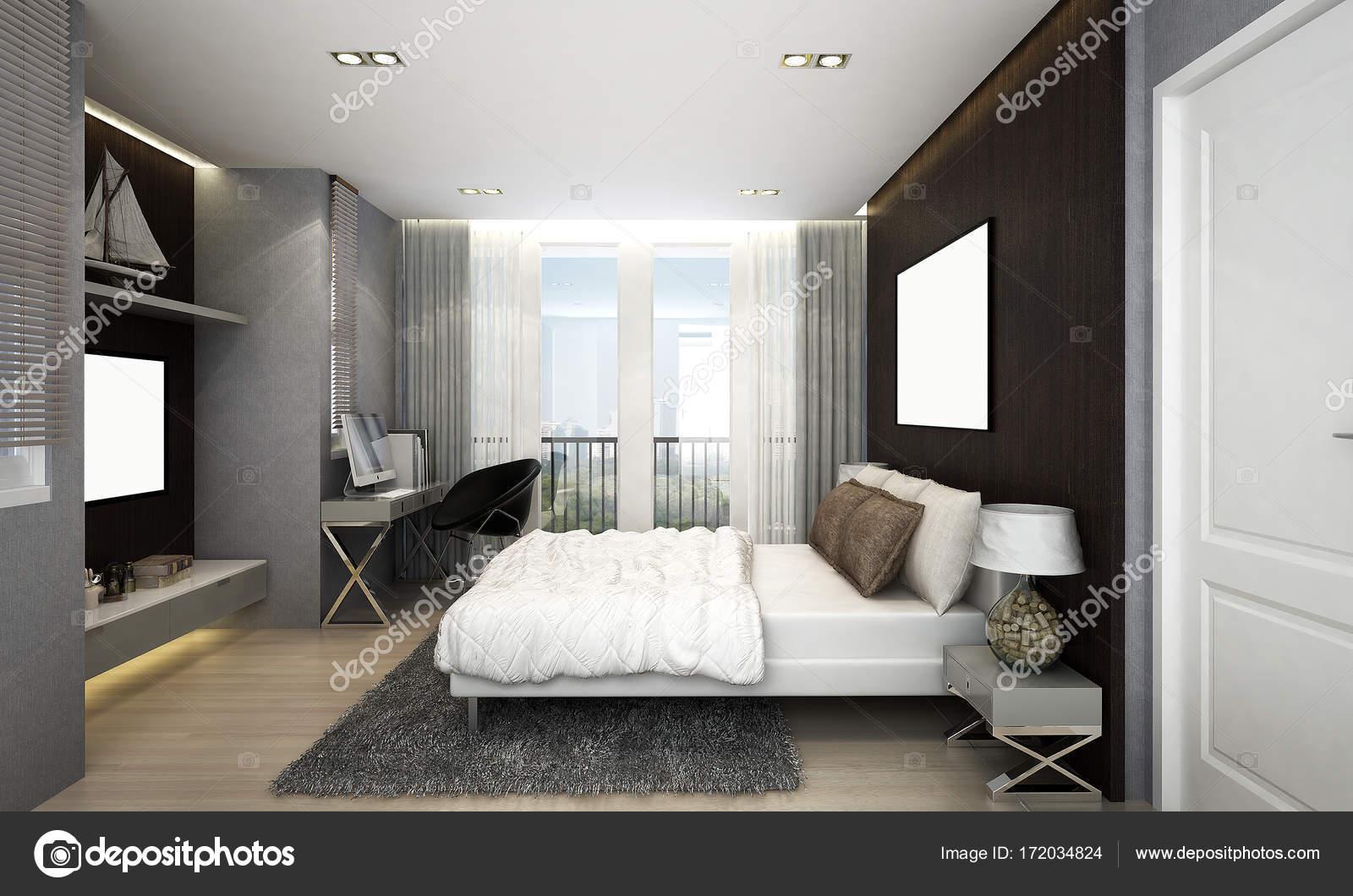 Luxe Slaapkamer Interieur : Het interieur van luxe slaapkamer en zwarte muur achtergrond