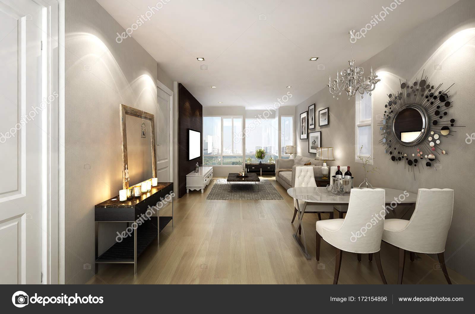 L\'interior design di lusso sala da pranzo e soggiorno — Foto ...