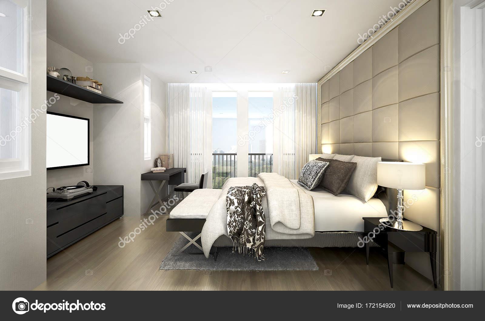 Das Interior Design des Luxus Schlafzimmer und LCD-tv in Wohnung ...