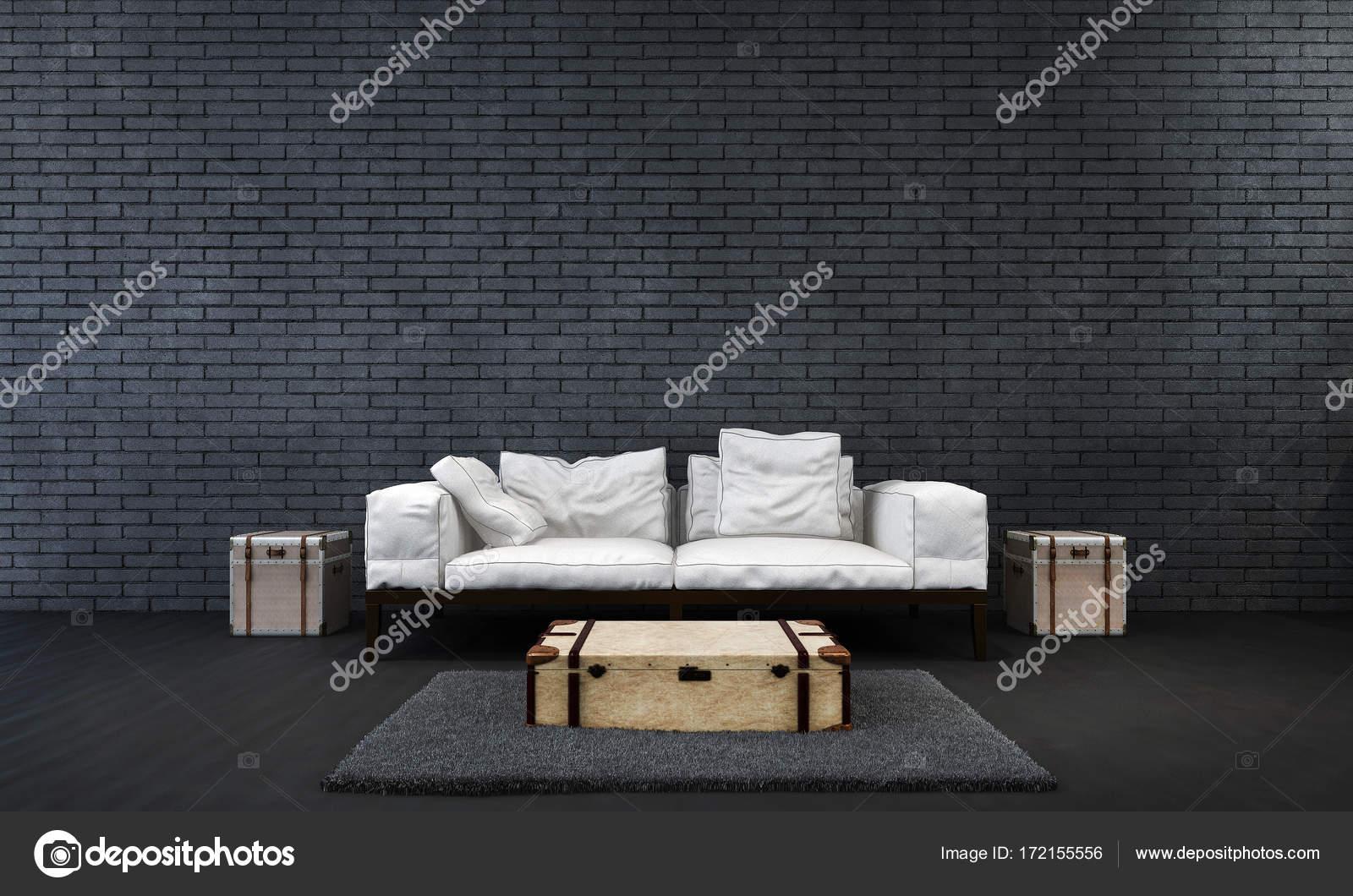 Die Lounge und Wohnzimmer Interieur-Design und schwarze Ziegel Wand ...