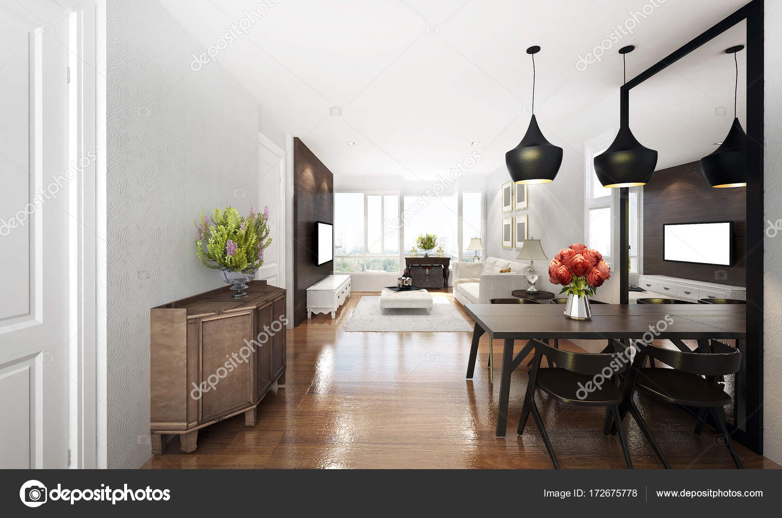 3D Rendering Interior Design Of Living Room And Dining Photo By
