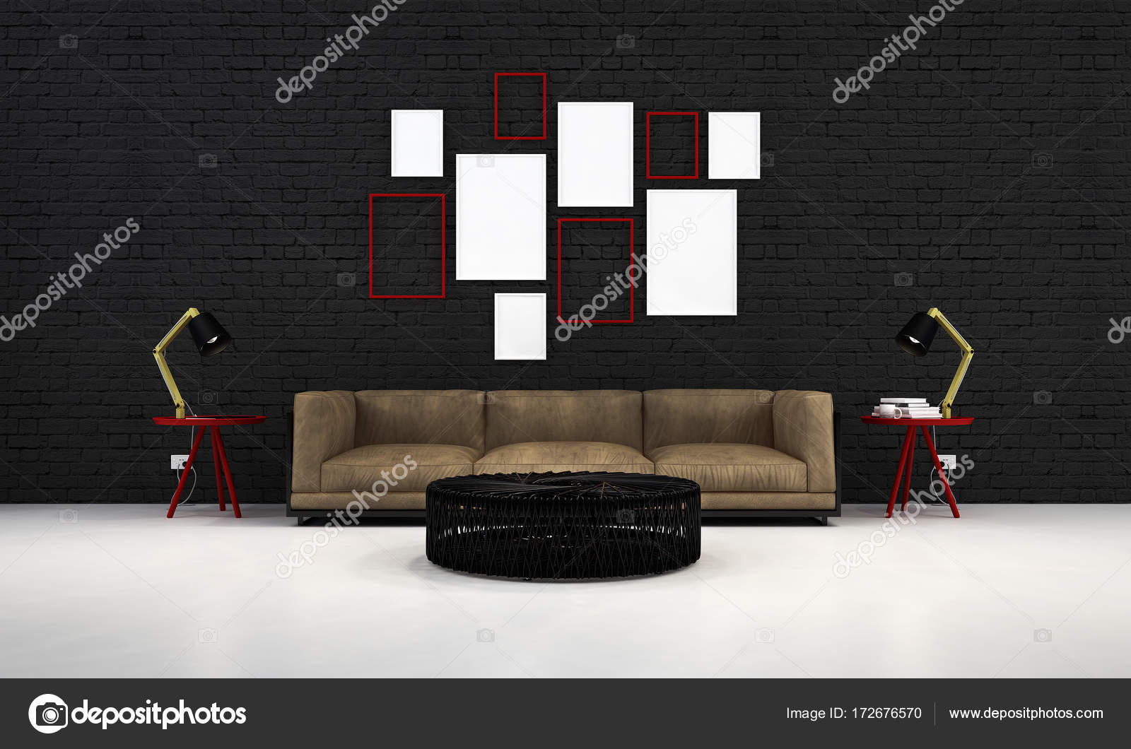 The modern lounge and living chairs and concrete wall ...
