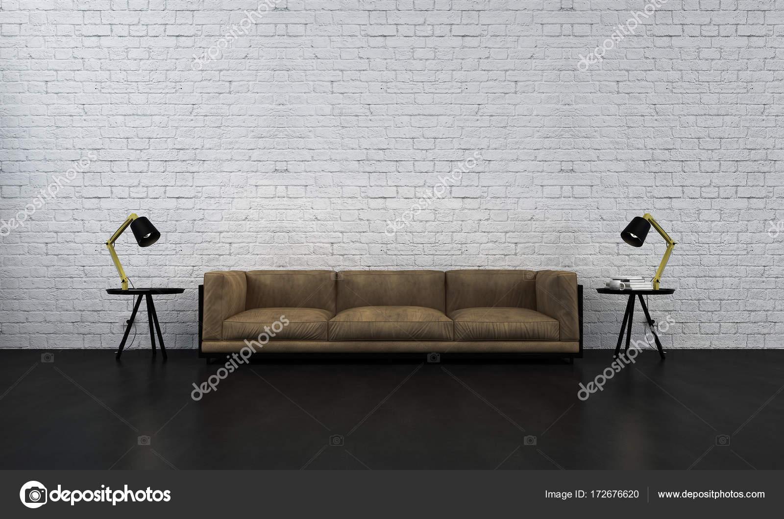 Die moderne Lounge und Wohnzimmer und Ziegelmauer Hintergrund ...