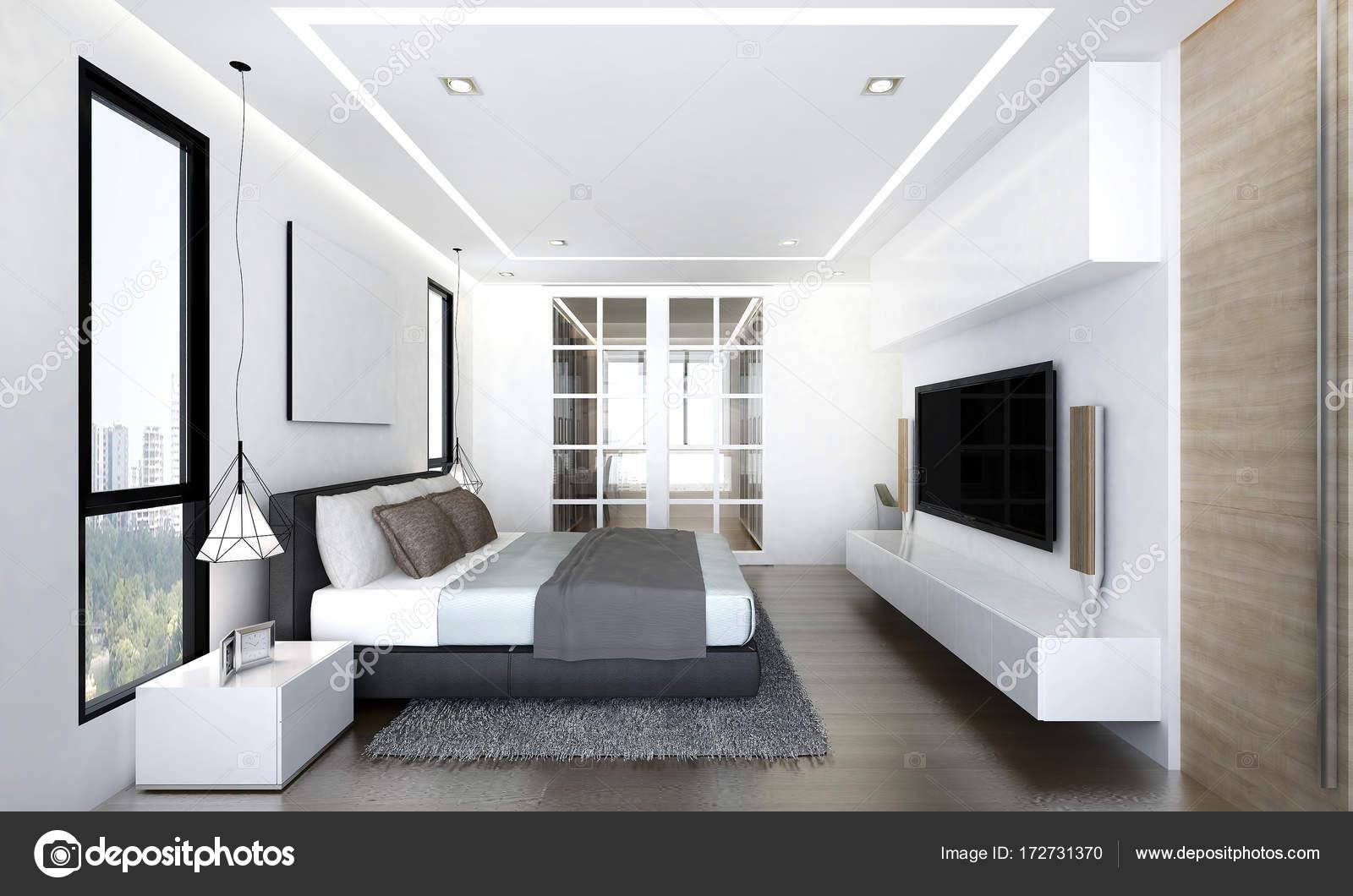 Luxe Interieur Ontwerp : Luxe slaapkamer interieurontwerp en lcd tv u stockfoto teeraphan