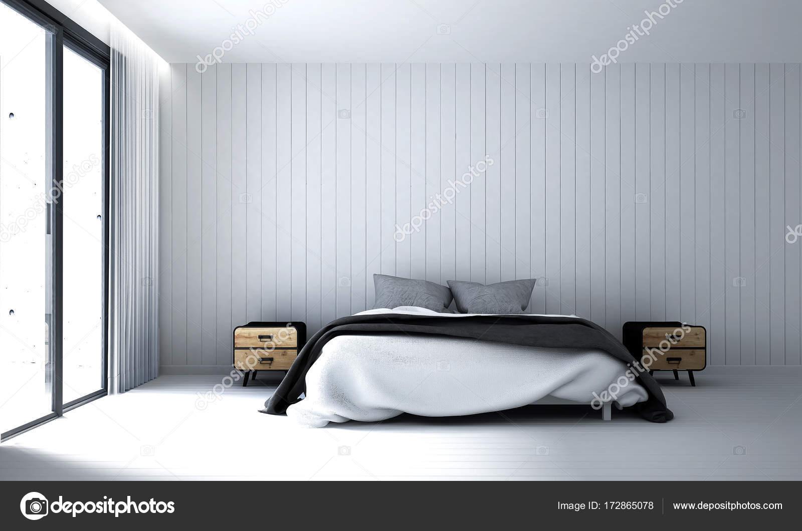 Quarto Moderno Design Interior E Branco Parede Plano De Fundo U2014 Fotografia  De Stock