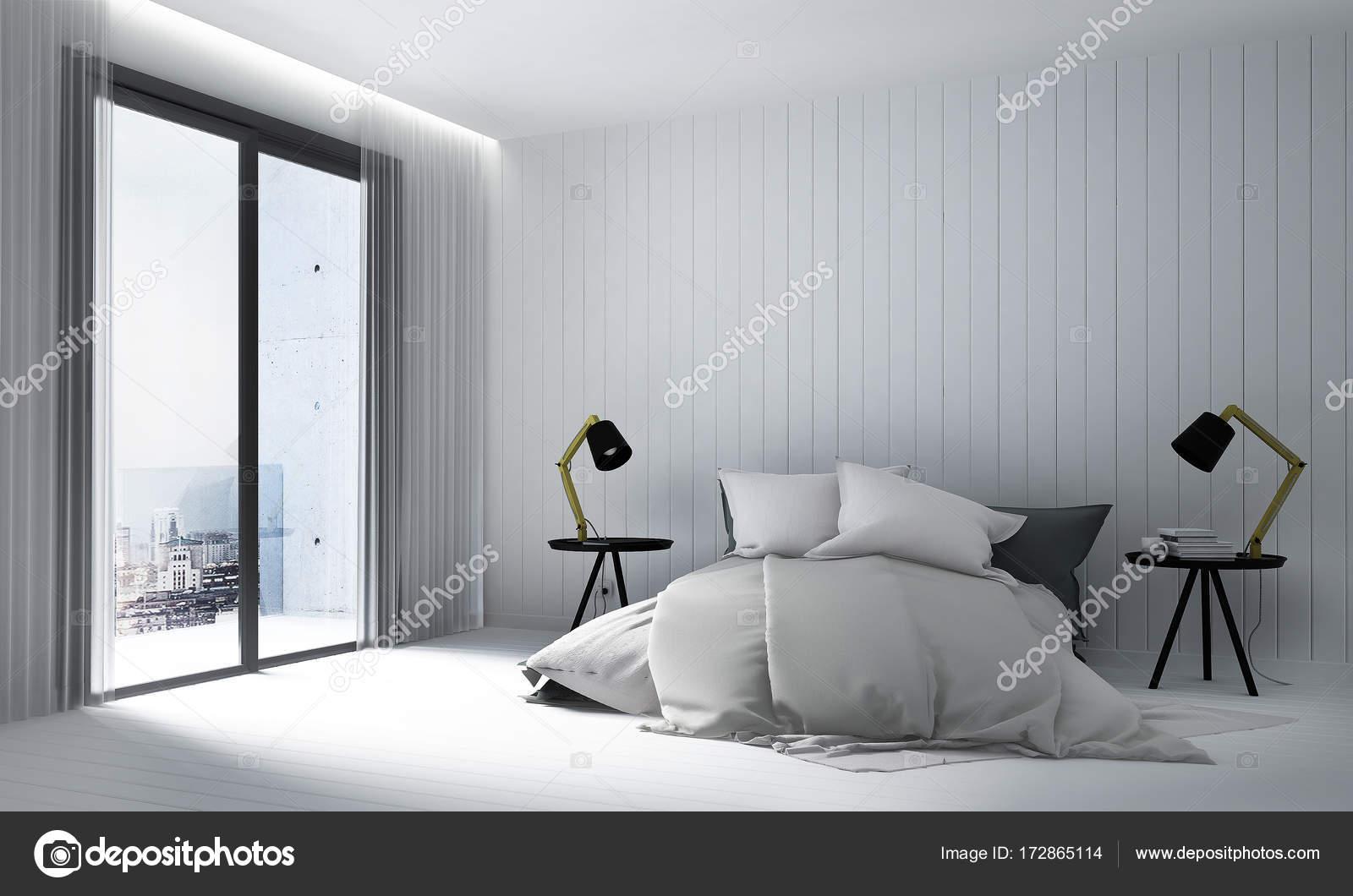 Design Du0027intérieur Chambre à Coucher Moderne Et Bois Blanc Mur Fondu2013 Images  De Stock Libres De Droits