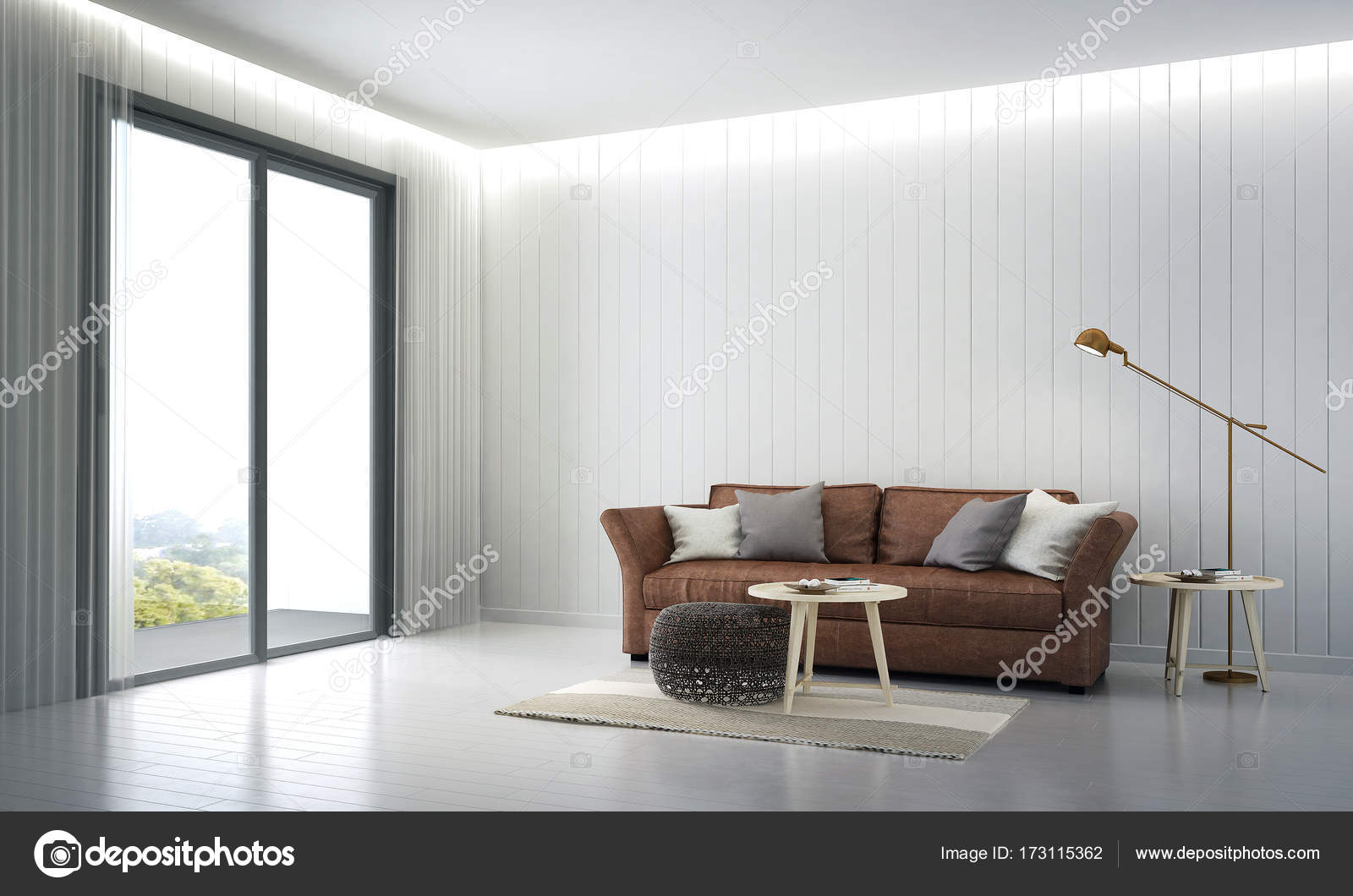 De lounge en woonkamer interieur en hout muur patroon — Stockfoto ...