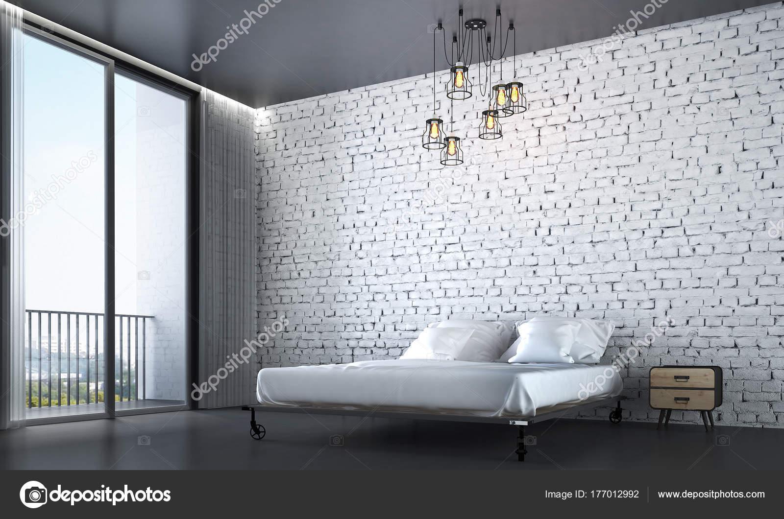 Décoration Des Chambres Moderne Mur Briques Blanches Fond Paysage Urbainu2013  Images De Stock Libres De Droits