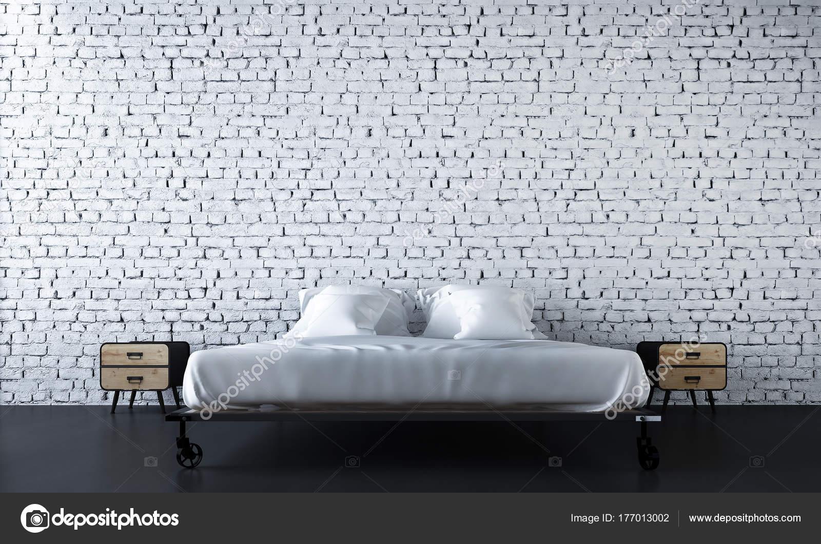 Décoration Des Chambres Moderne Fond Mur Briques Blanchesu2013 Images De Stock  Libres De Droits