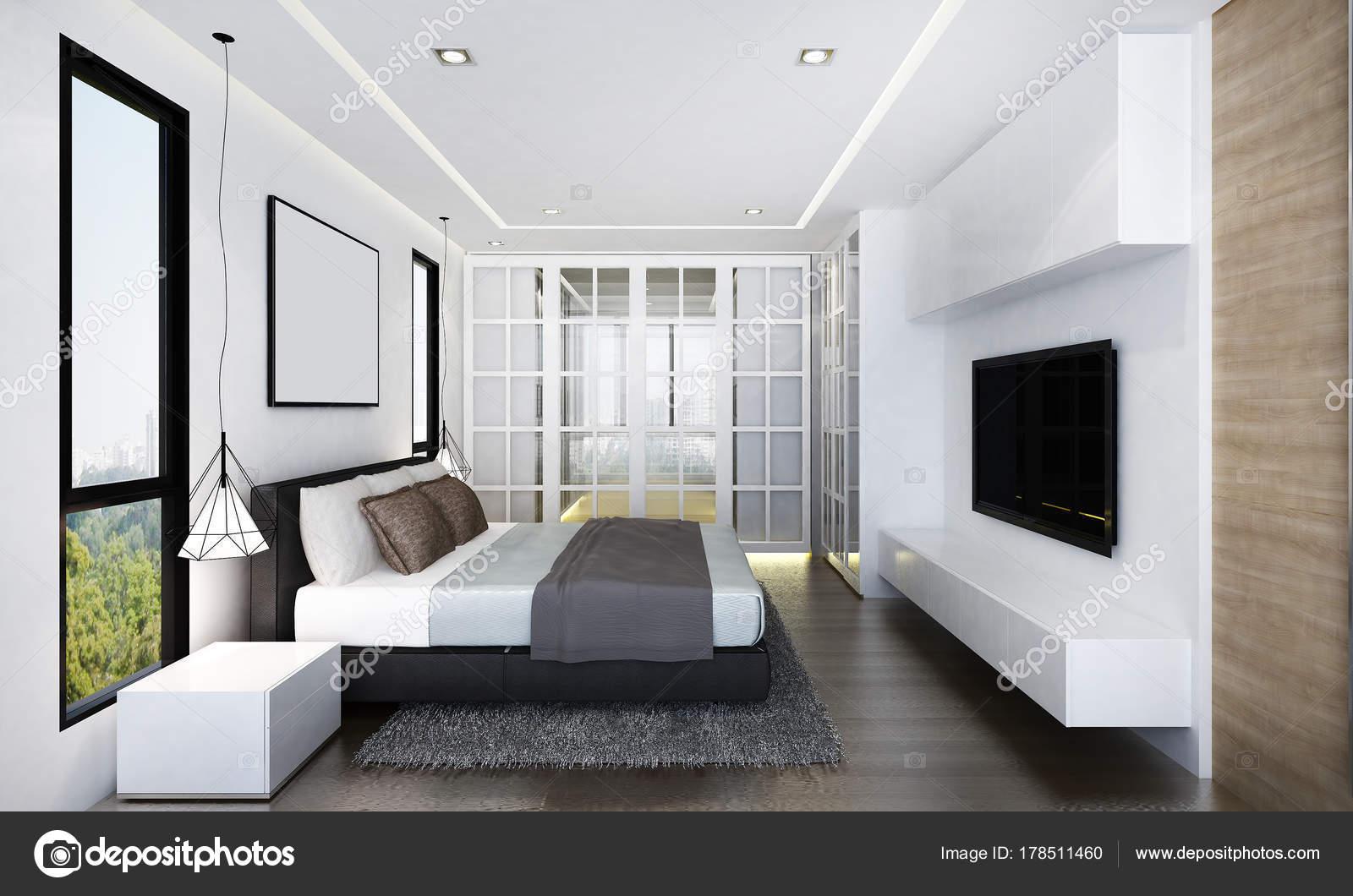 Rendering Interior Design Concept Idea Modern Bedroom Wall ...