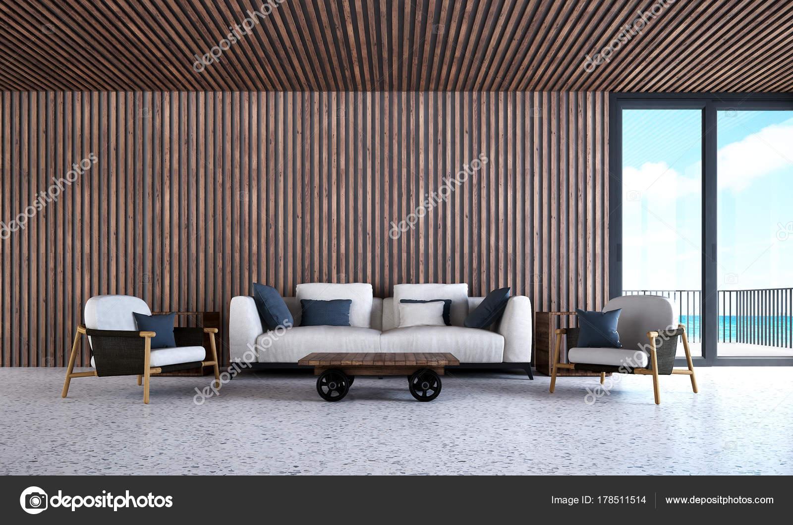 Idée Concept Design Intérieur Rendu Salon Moderne Cloison Bois Fond ...