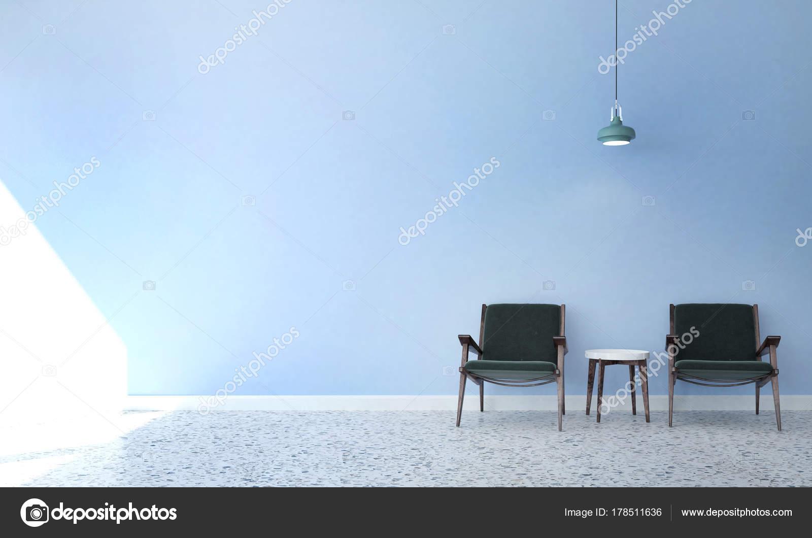 Rendering interieur design concept idee van woonkamer blauw muur