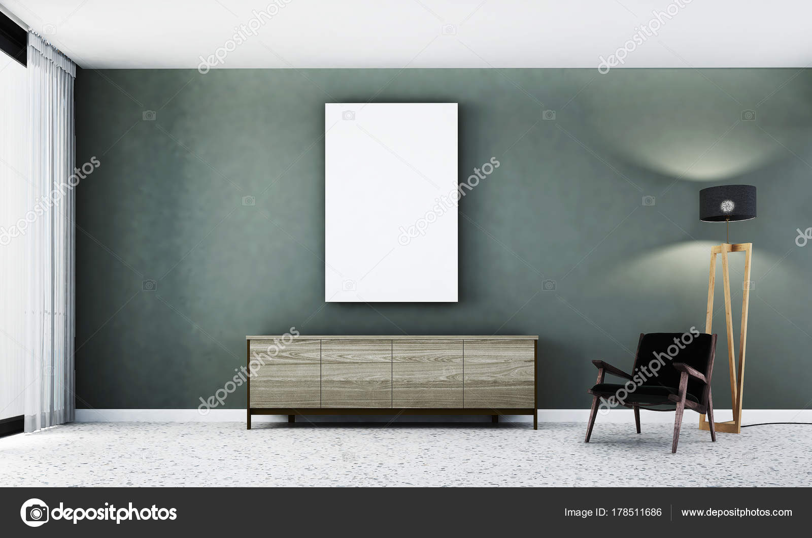Rendering interieur design concept idee van moderne woonkamer