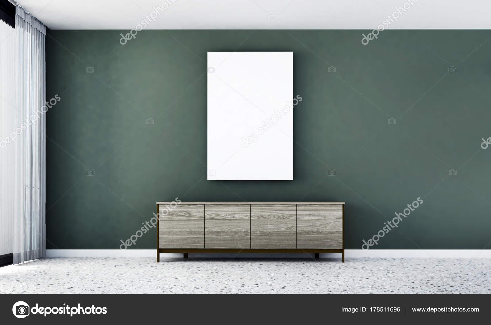 Rendering interieur concept idee van woonkamer groene muur