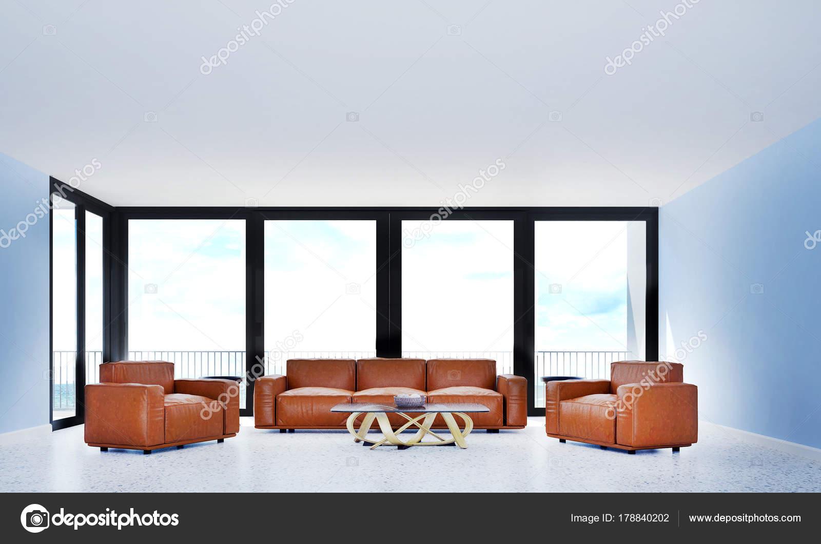 Die Innenausstattung Des Weißen Wohnzimmer Und Rotes Sofa Und Meer ...