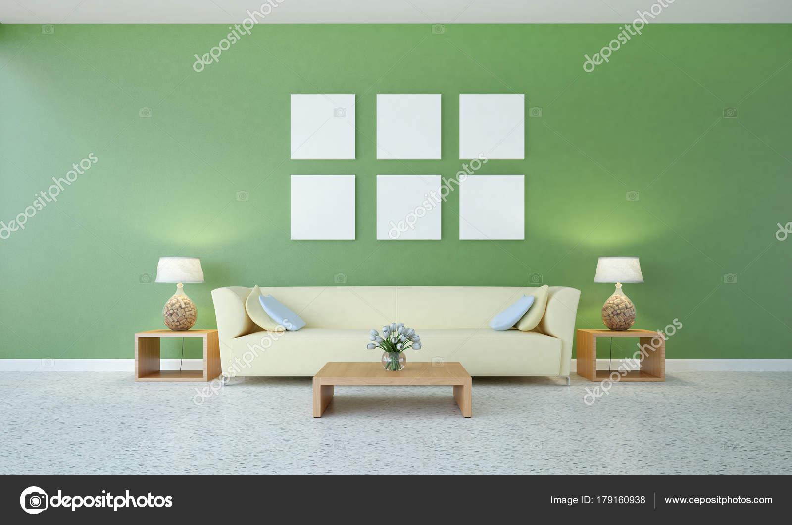 Das Wohnzimmer Interior Design Und Grune Wand Muster Hintergrund