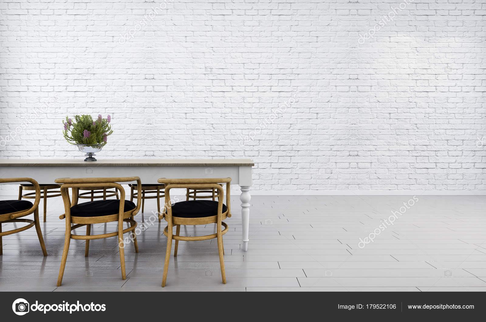 Het Interieur Design Concept Ideeën Van Minimale Eetkamer Bakstenen ...