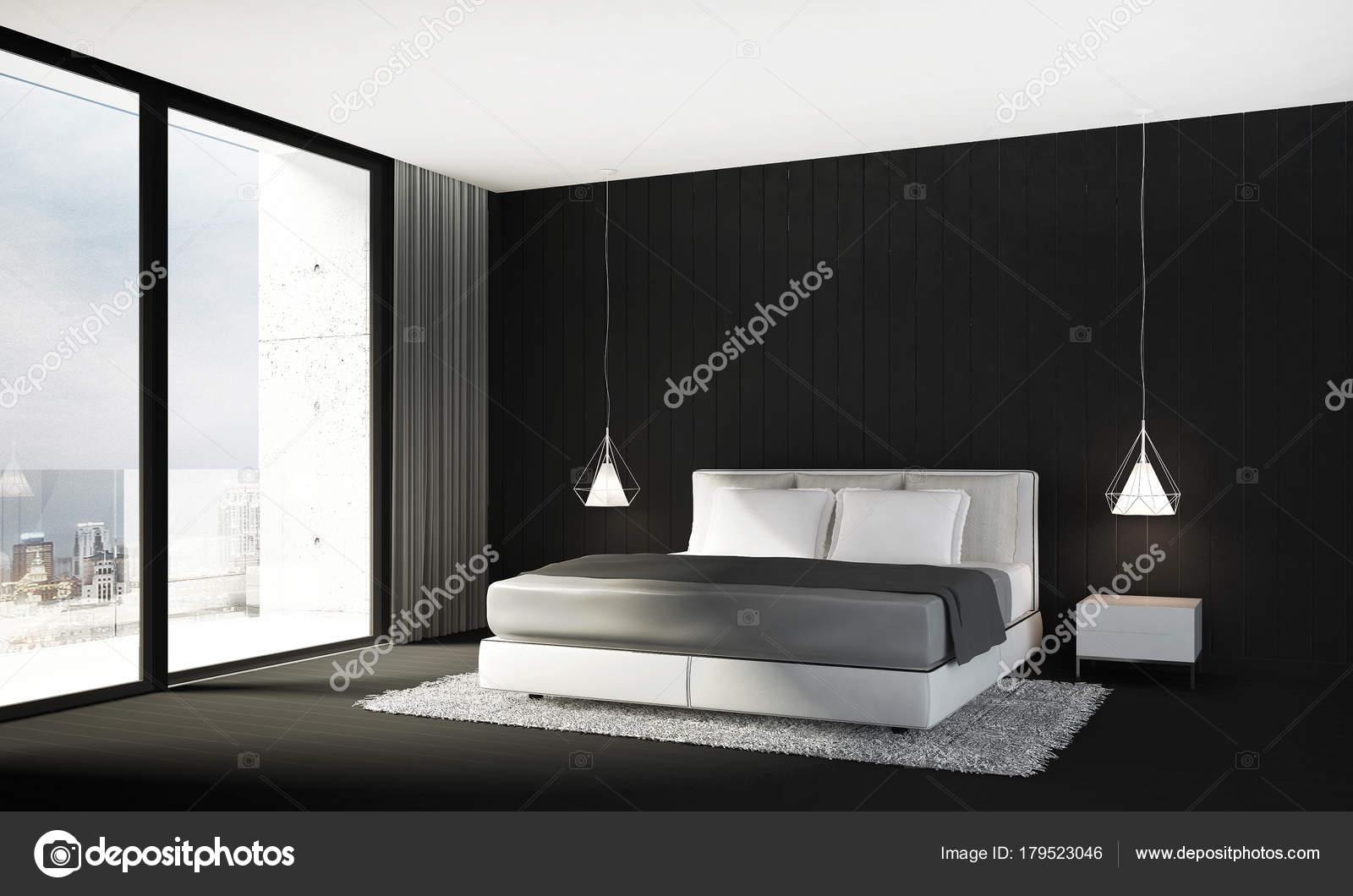 Rendu Décoration Chambre Coucher Fond Texture Mur Noir ...