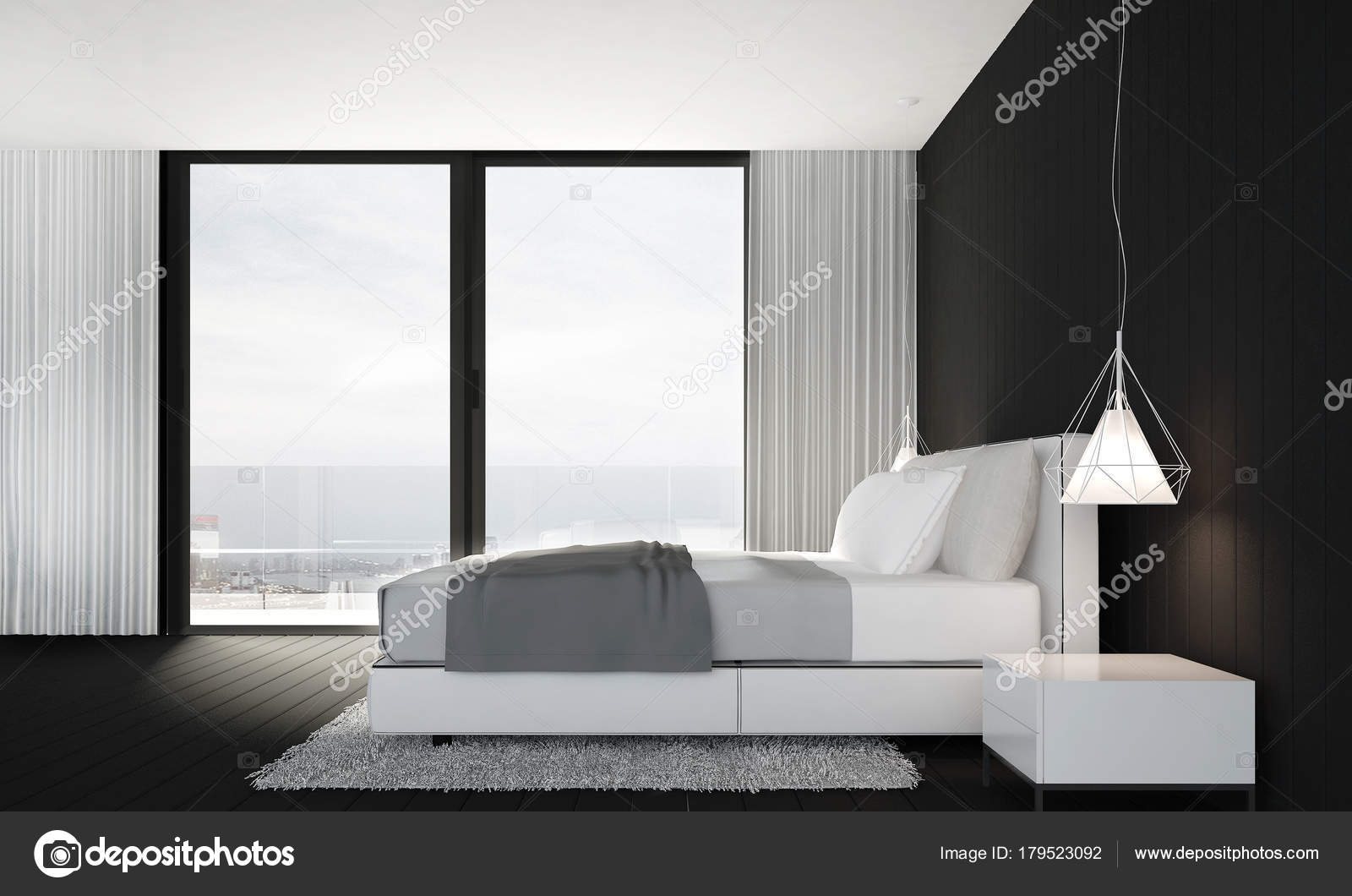 Rendu Décoration Chambre Coucher Moderne Fond Texture Mur Noir ...