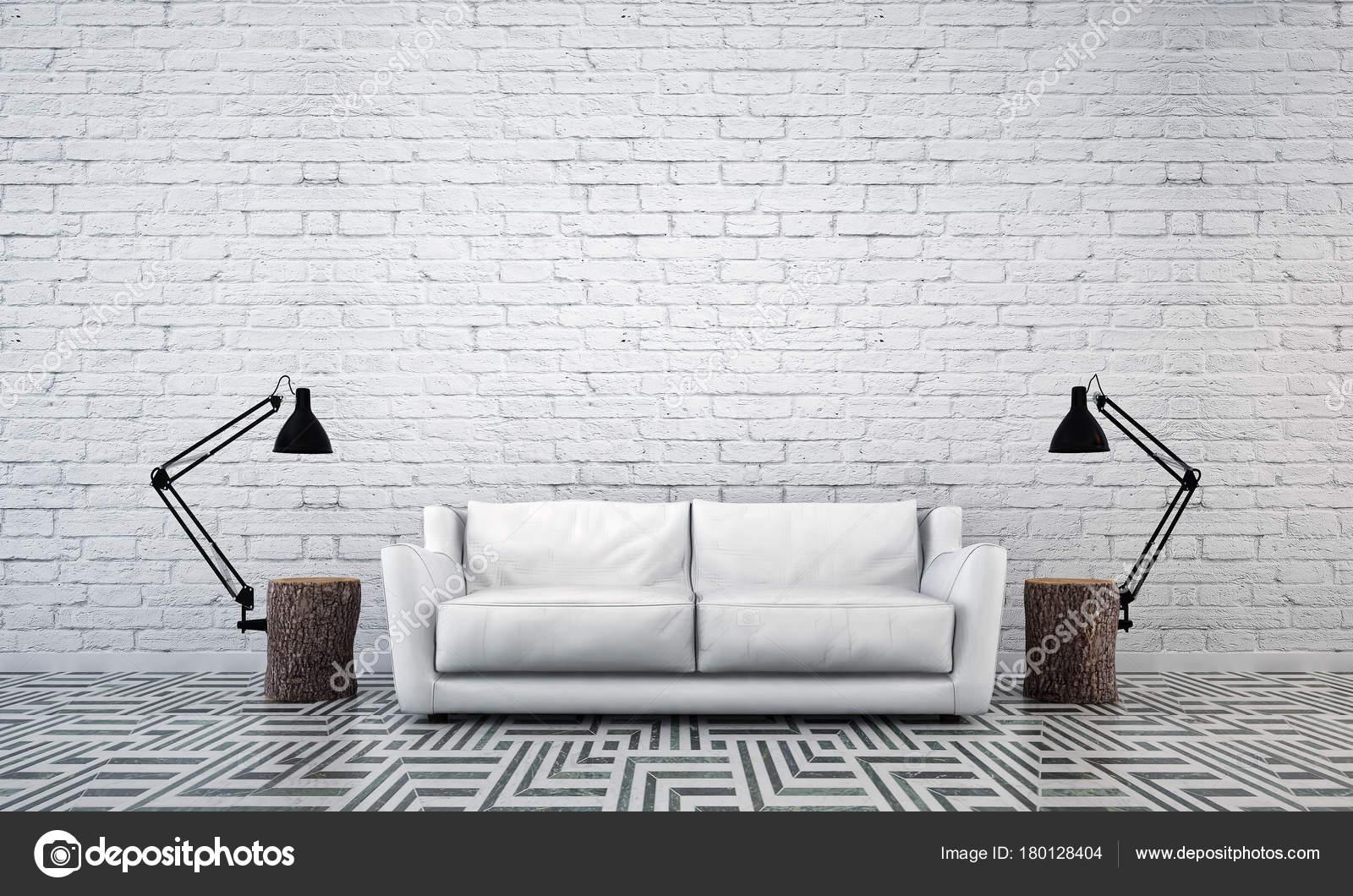 Die Innenarchitektur Idee Konzept Der Modernen Minimaler Wohnzimmer Und  Ziegel Wand Patern Hintergrund U2014 Foto Von Teeraphan