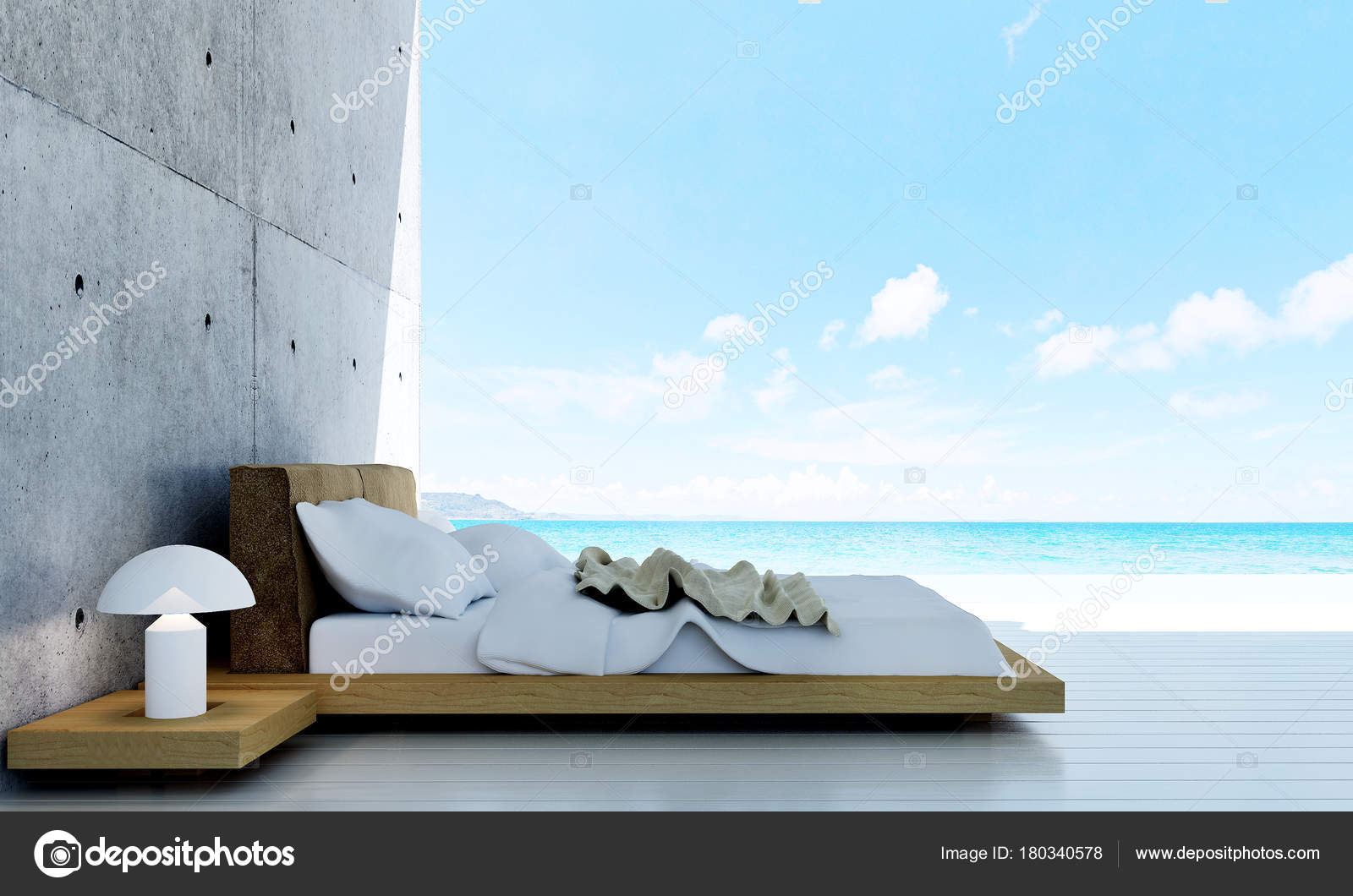 Concept Idée Design Intérieur Chambre Coucher Moderne Mur Béton ...