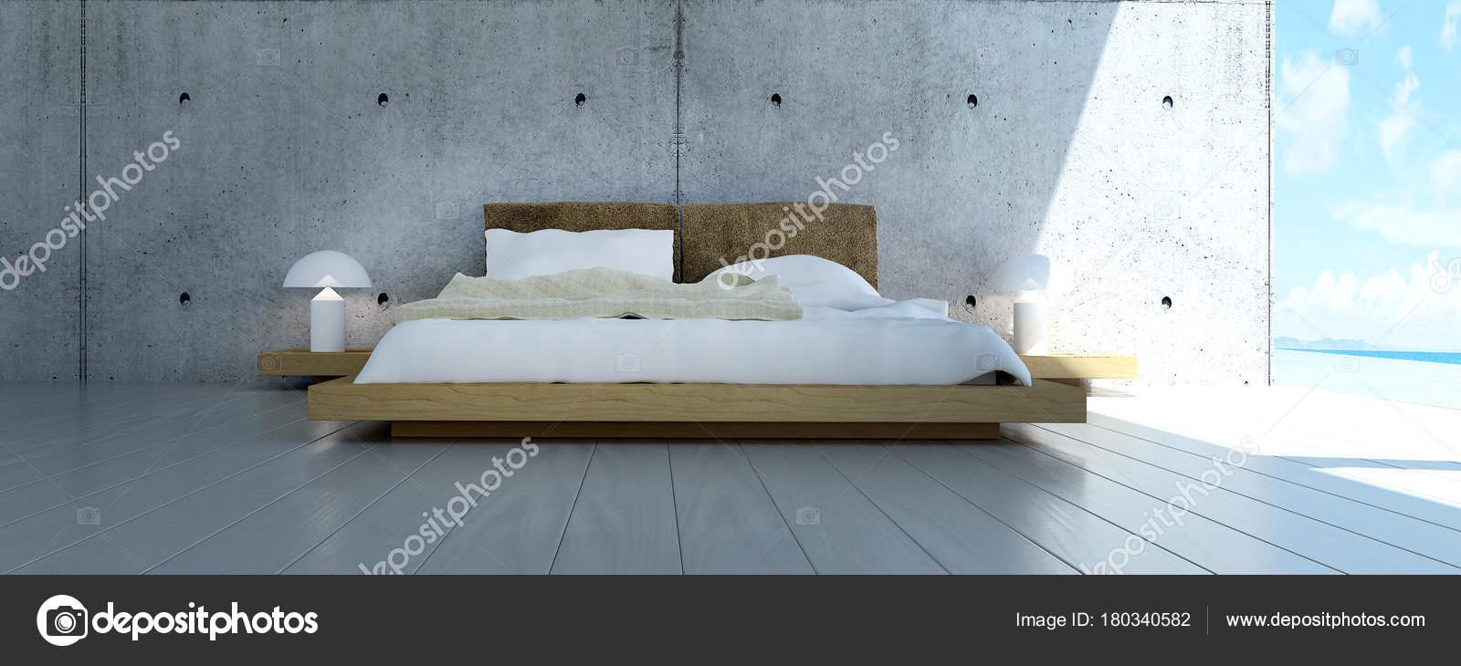 Concept Idée Décoration Chambre Coucher Moderne Fond Mur Béton ...