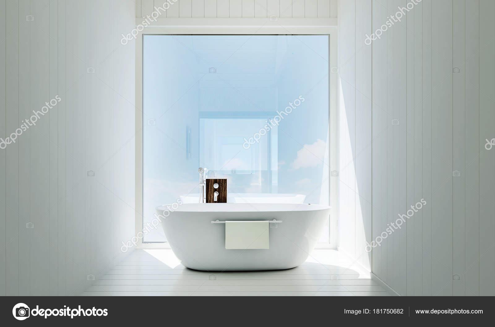 Luxury Bathroom Jacuzzi Interiors Design Idea Concept White Texture Wall Stock Photo