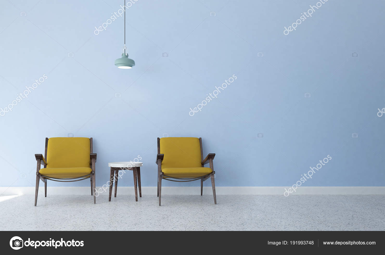 Design Intérieur Minimal Moderne Salon Salle Séjour Bleu ...