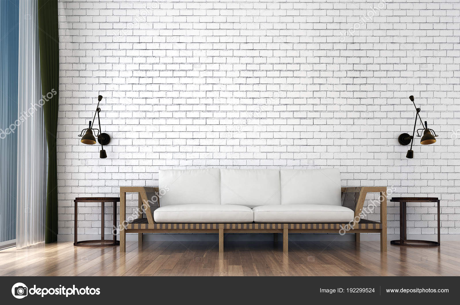 Modern Living Room Interior Design White Brick Wall Texture Background Stock Photo Image By Teeraphan 192299524