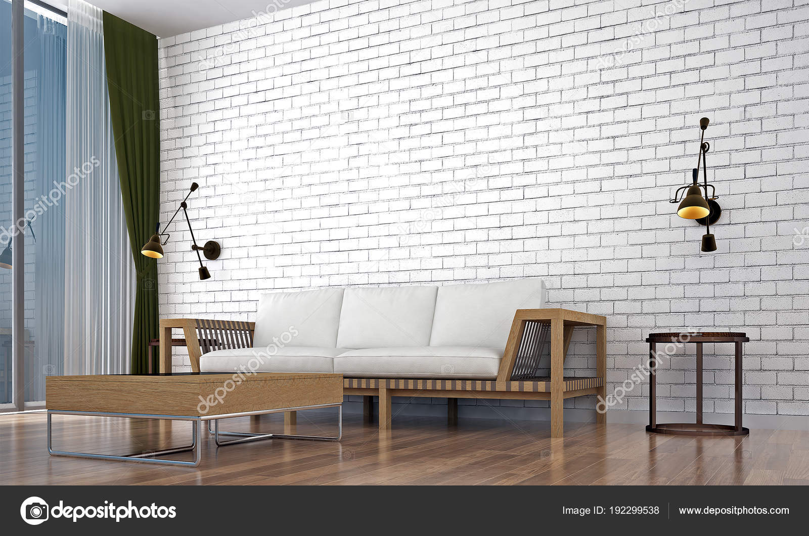 Living Room Interior Design White Brick Wall Texture Background Stock Photo Image By Teeraphan 192299538